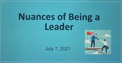 Nuances of Being a Leader Workshop Recap